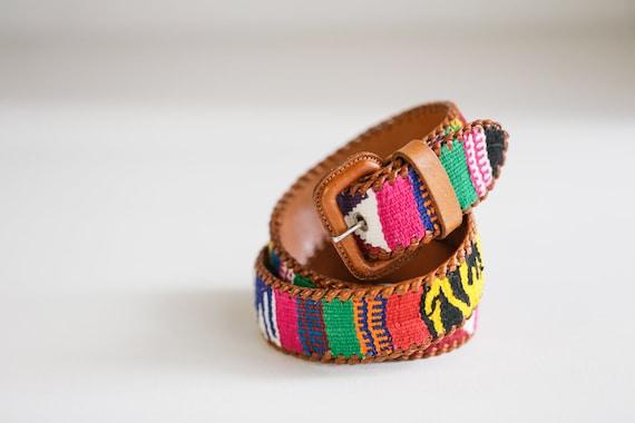 Handmade  Colourful Embroidered Boho Leather Belt… - image 6