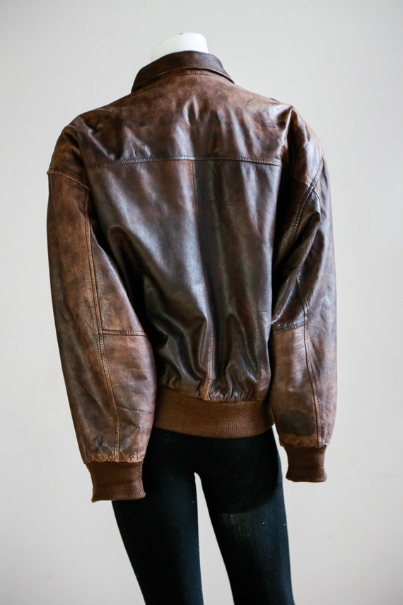 Leather Aviator Flight Jacket | Vintage Pilot Jac… - image 6