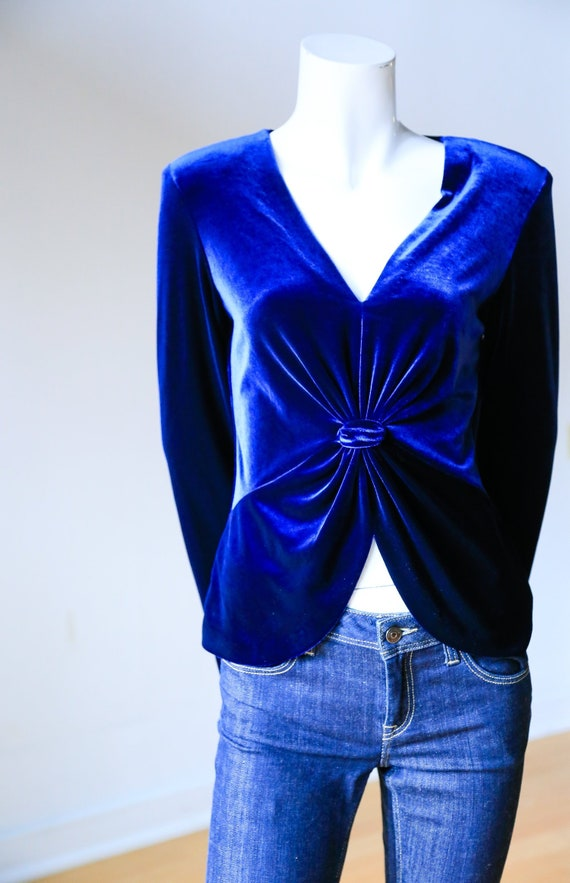 90s Velvet V Neck Knot Detail Midnight Blue Long S