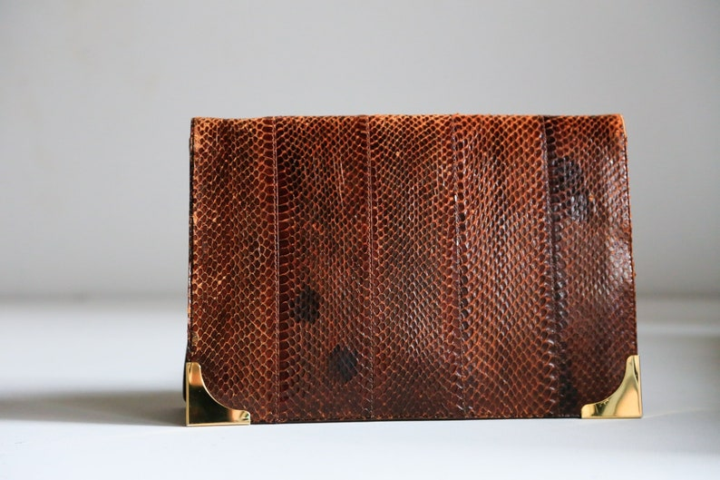 e0d9e23d70 Vintage Snake Skin Brown and Gold Hardware Clutch Brown   Etsy
