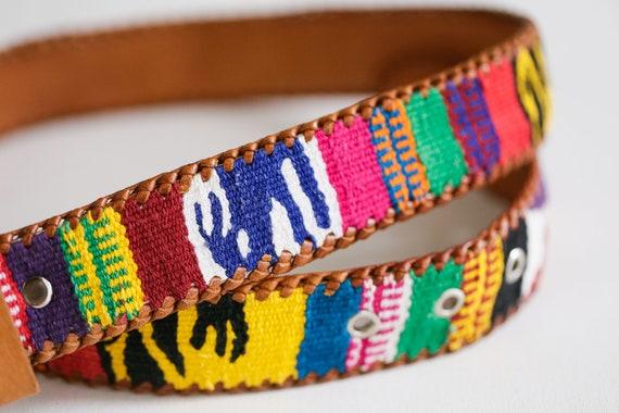 Handmade  Colourful Embroidered Boho Leather Belt… - image 4