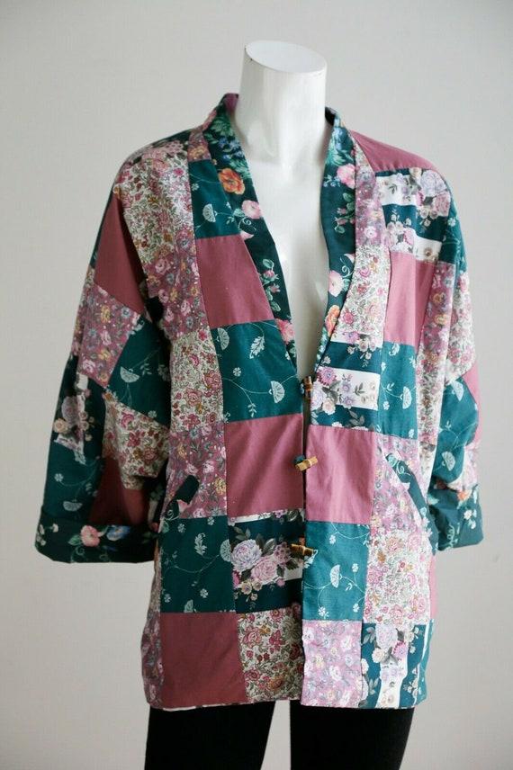 Vintage Cottagecore Patchwork Pink Teal Floral Re… - image 7