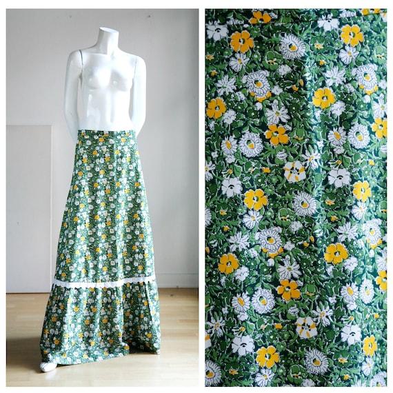 70s A line Fine Floral Maxi Prairie Skirt |Vintage