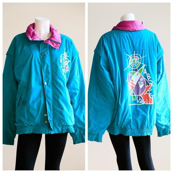 Turquoise Novelty Ski Jacket | Abstract Ski Snowbo