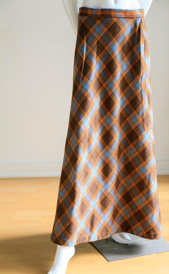 Plaid Wool A-line Maxi Skirt   Gold Plaid Skirt  … - image 5