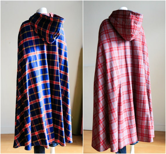 Vintage Plaid Wool Cape | Plaid Hooded Cape | Plai