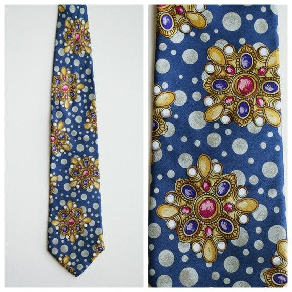 Vintage  Kenzo Paris Jewelry Print Men's Silk Tie