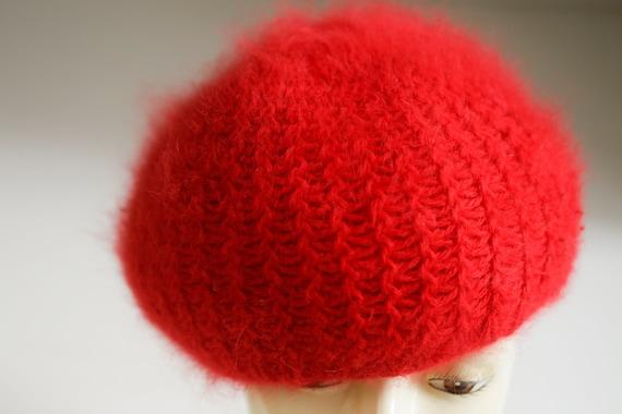 Bright Red Wool Angora Winter Beret | Holiday Fes… - image 5