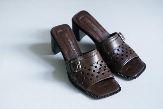90s Square Toe Leather Via Spiga Slip on Heels |
