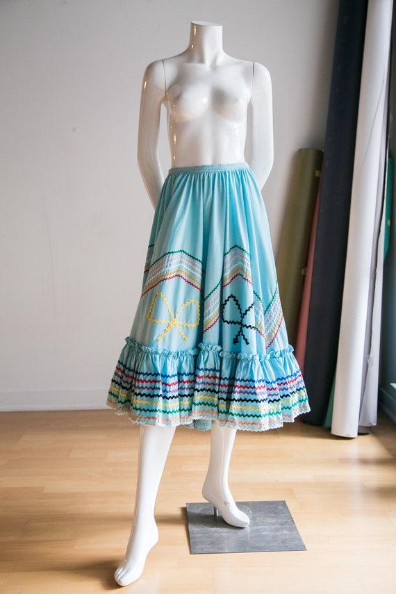 Mexican Circle Skirt | Folk Dancing Skirt  | Blue… - image 5