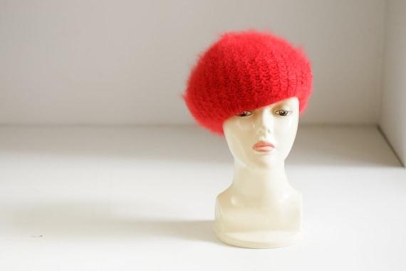 Bright Red Wool Angora Winter Beret | Holiday Fes… - image 2