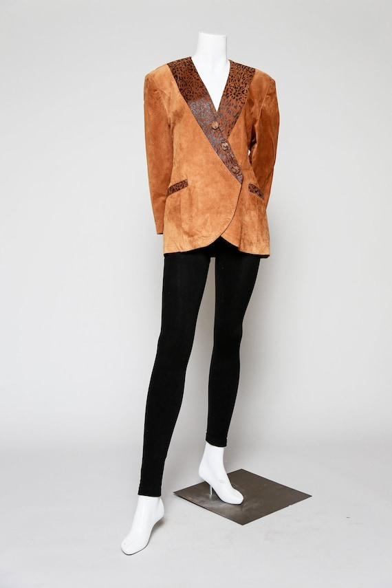 Caramel Brown Suede Blazer | Asymmetrical Closure