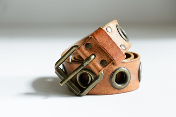 90s Caramel Brown Leather Belt | Vintage Brown Lea
