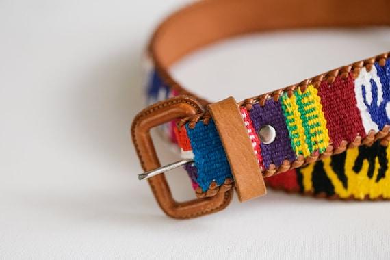 Handmade  Colourful Embroidered Boho Leather Belt… - image 3