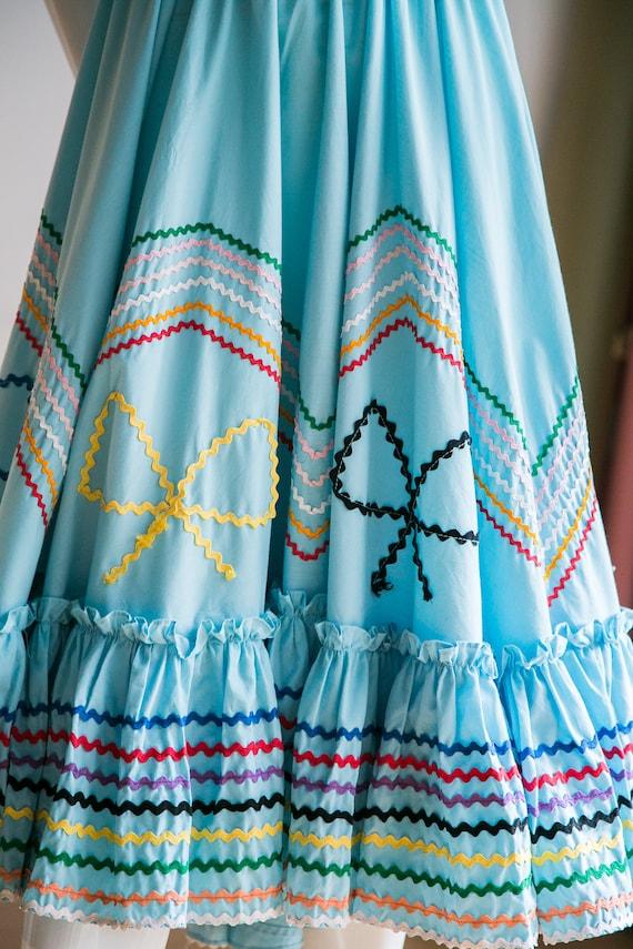 Mexican Circle Skirt | Folk Dancing Skirt  | Blue… - image 4