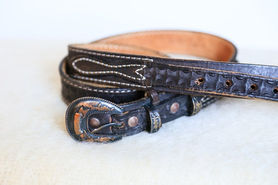 Southwestern Hand Tooled Skinny Dark Brown Leather
