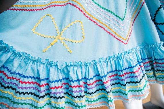Mexican Circle Skirt | Folk Dancing Skirt  | Blue… - image 8