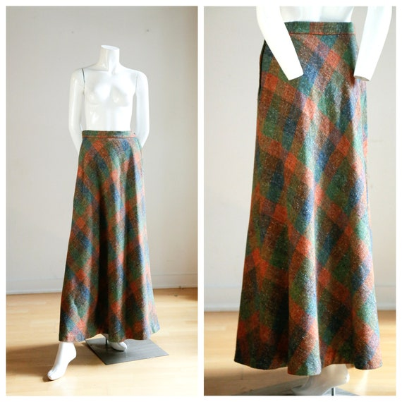 Vintage Large Scale  Plaid Wool A-line Maxi Skirt