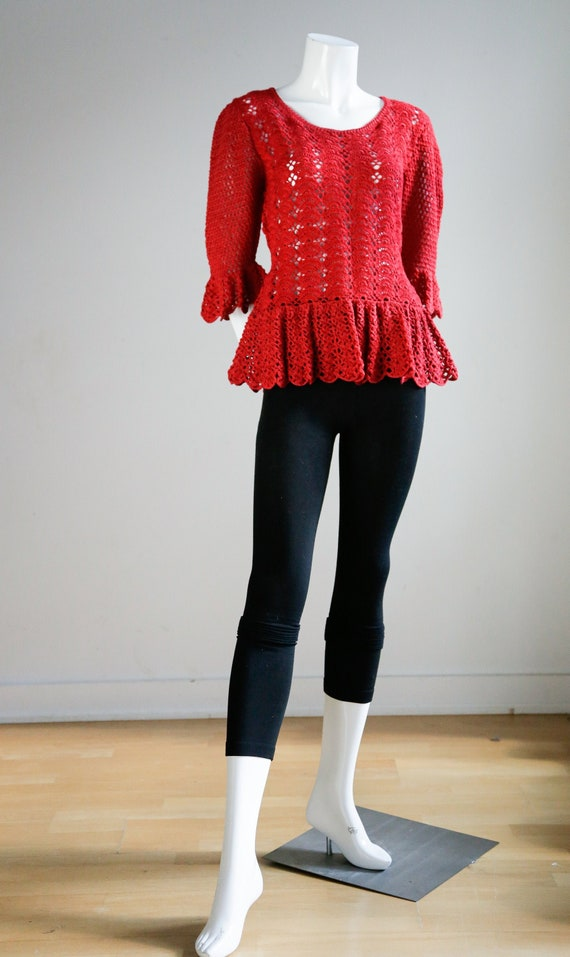 Red Crochet Hand Made Top| Peplum Waist Red Top |