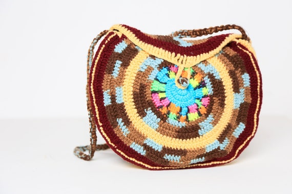 Round Crochet Handmade Crossbody Bag   Multicolour