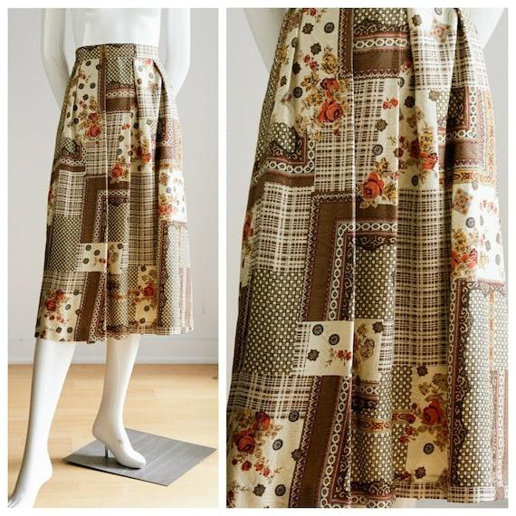 Vintage Silk Patchwork Scarf Print OOAK Midi Skirt