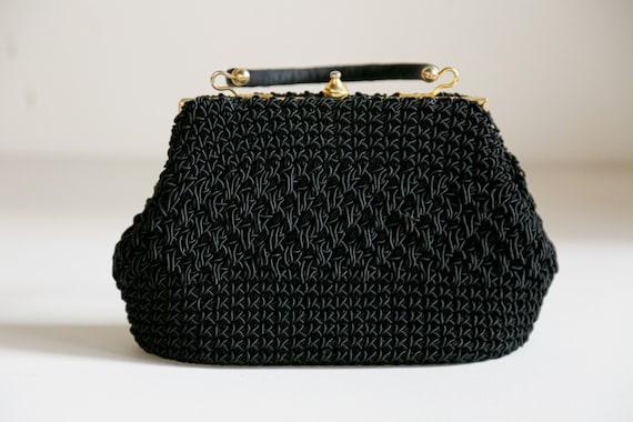 Vintage Black Crochet Mini Bag   Sicilian Widow Bl
