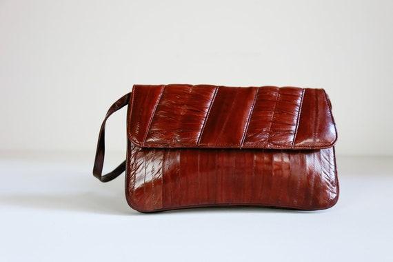 Vintage Eel Skin Patchwork Shoulder Bag | Chestnut