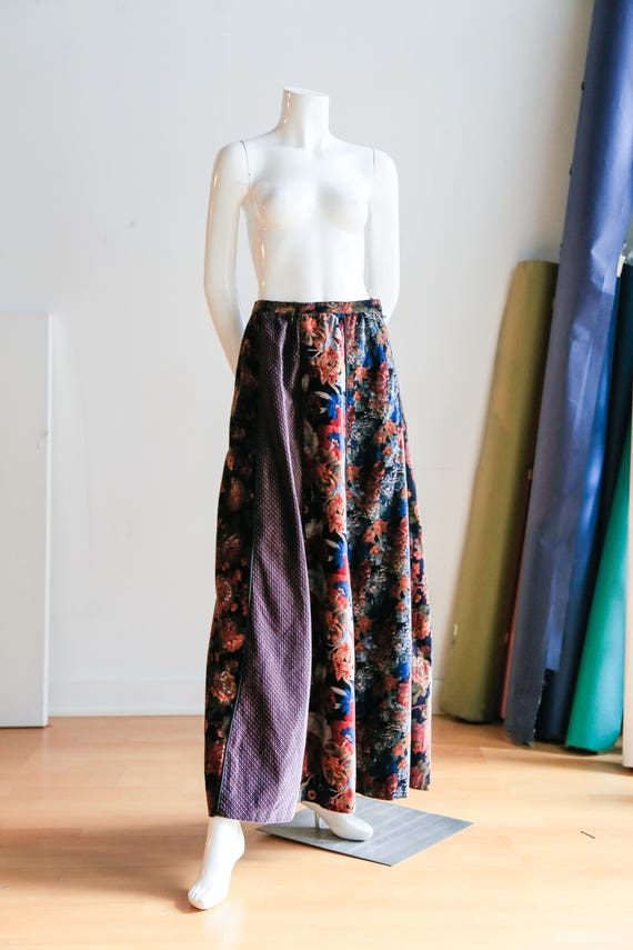 70s Floral Patchwork Velvet Multicolour Long Maxi