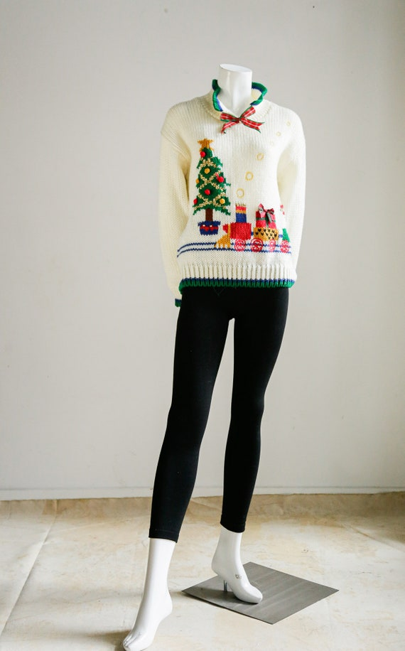Christmas Tree and Train Motif Embroidered Sweater