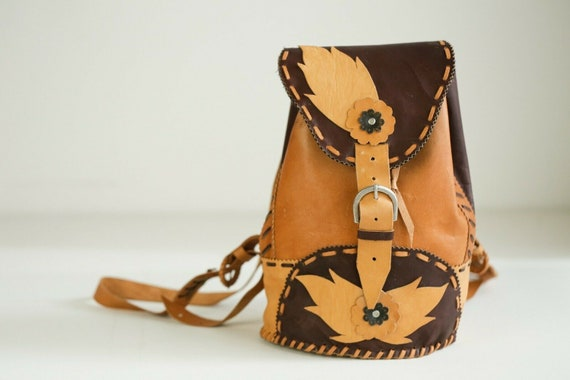 Vintage Handmade Small Leather Backpack | Cute Boh