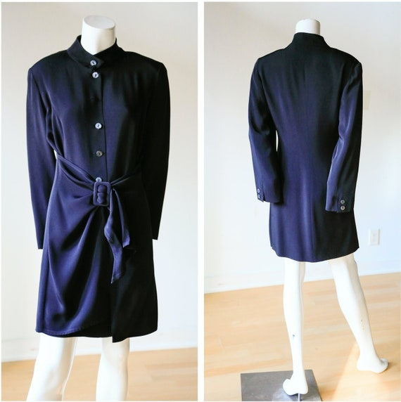 BYBLOS 90s Black Apron Detail Dress | Button Down