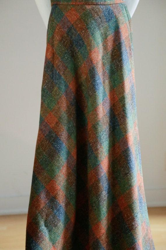 Vintage Large Scale  Plaid Wool A-line Maxi Skirt… - image 4