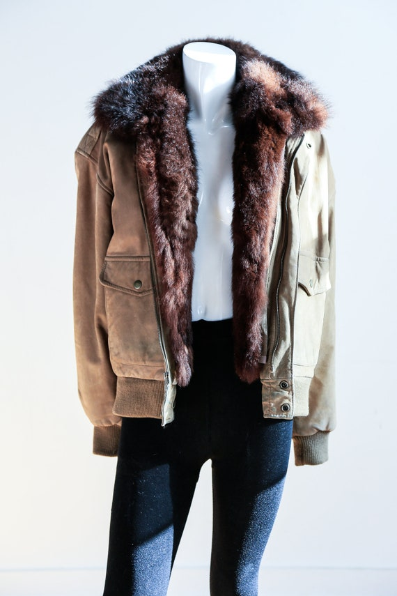 Fur Lined Leather Flight Jacket | Light Beige Bro… - image 2