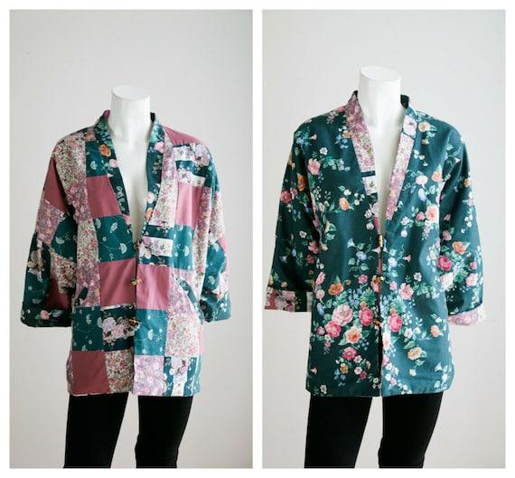 Vintage Cottagecore Patchwork Pink Teal Floral Re… - image 1