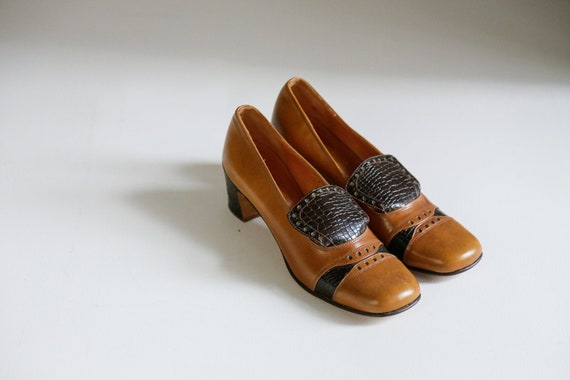 60s All Leather Square Toe Vintage Colour block Br
