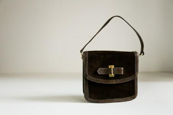 Vintage Suede Structured Handbag |Brown Suede Mini