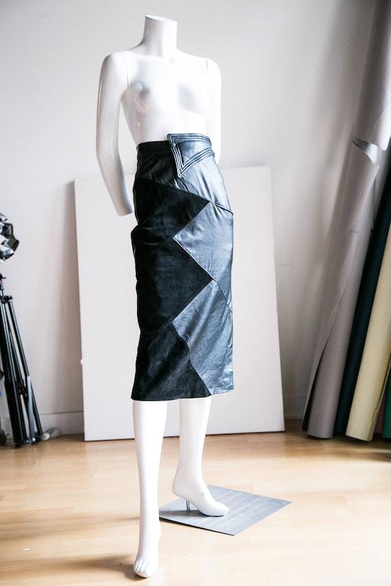 a9251629e6b97 Daim taille haute Midi jupe crayon en cuir   Jupe crayon en cuir sexy   Jupe  taille haute en daim   Géométrique