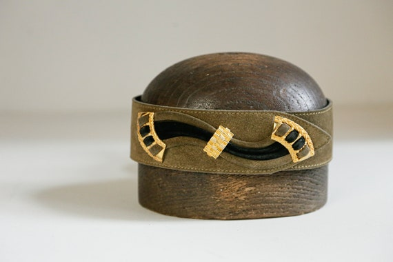 80s Olive Green geometric Wide Belt | Traditional