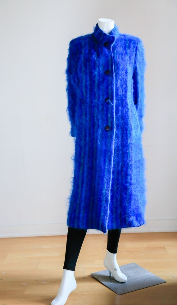Blue Mohair Midi Coat | Wool Mohair Striped Coat … - image 2