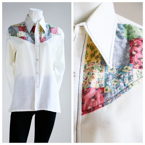 70s Patchwork Detail White Pearl Snap Button Cotto