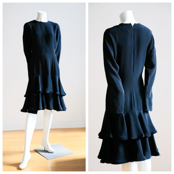 Little Black Dress with Ruffle Hem and Long Sleeve