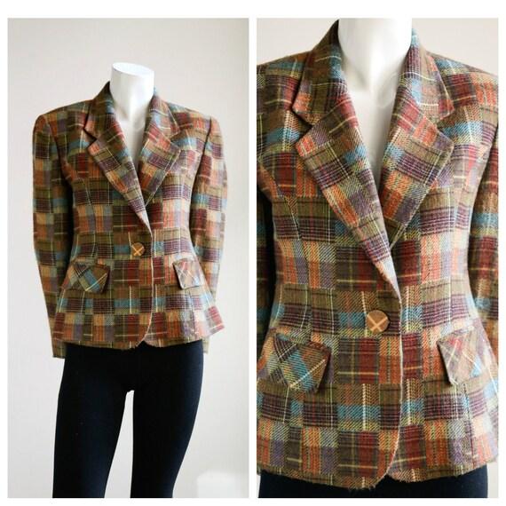 Vintage Patchwork Plaid Multi Colour Wool Blazer |