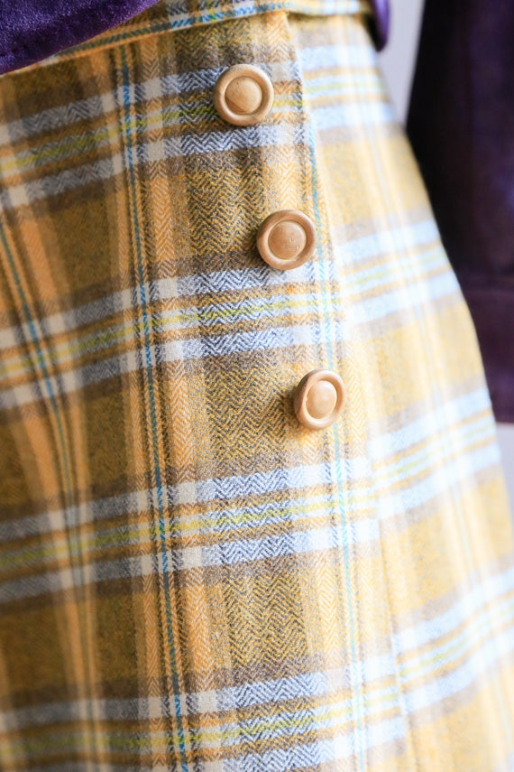 Plaid Wool A-line Maxi Wrap Skir   Plaid Boho Max… - image 6