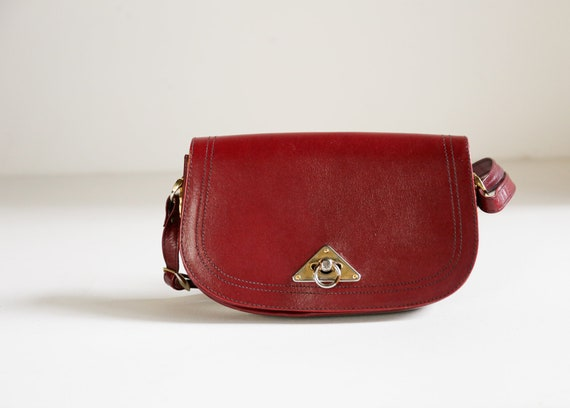 Vintage Leather Burgundy Classic Shoulder Bag | Mi
