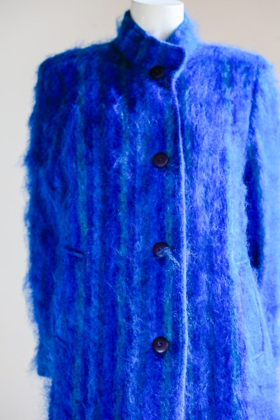 Blue Mohair Midi Coat | Wool Mohair Striped Coat … - image 3