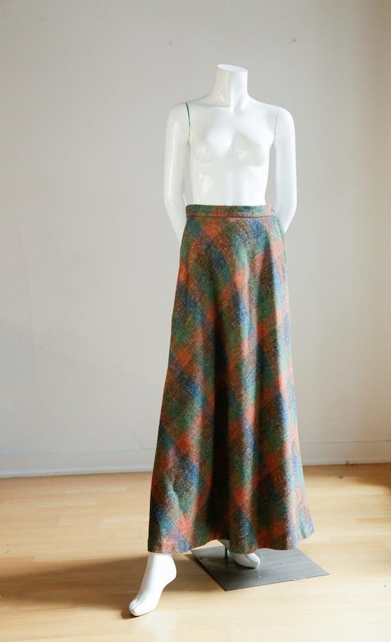 Vintage Large Scale  Plaid Wool A-line Maxi Skirt… - image 2