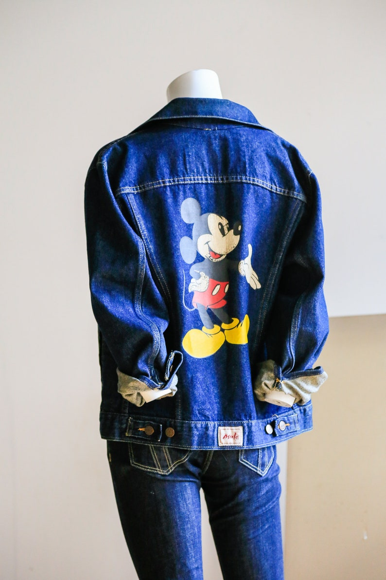 279c493aab 90s Denim Mickey Mouse Jacket | Disney Denim Jacket| Collectible | Cartoon  | Character |MALE Brand | Dark Denim | Distressed Mickey Jacket