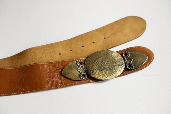 80s Wide Leather Belt with Massive Primitive Gold… - image 7