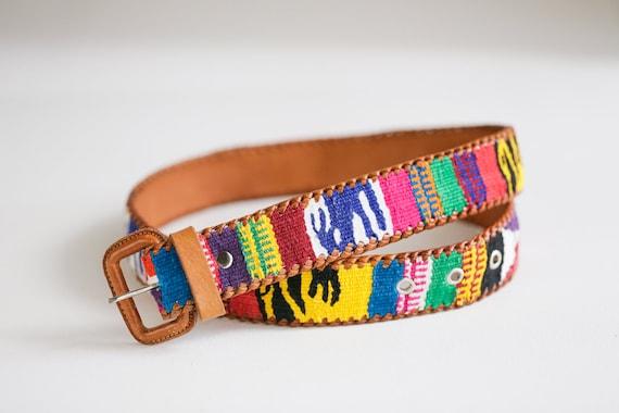 Handmade  Colourful Embroidered Boho Leather Belt… - image 2