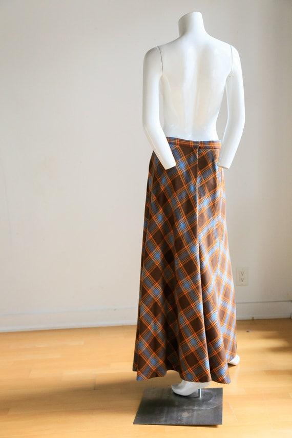 Plaid Wool A-line Maxi Skirt   Gold Plaid Skirt  … - image 2